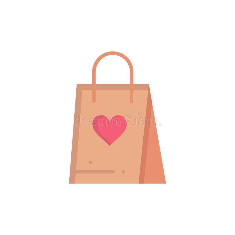 Shopping förälskelse, gåva, plan färgsymbol för påse Mall för vektorsymbolsbaner royaltyfri illustrationer