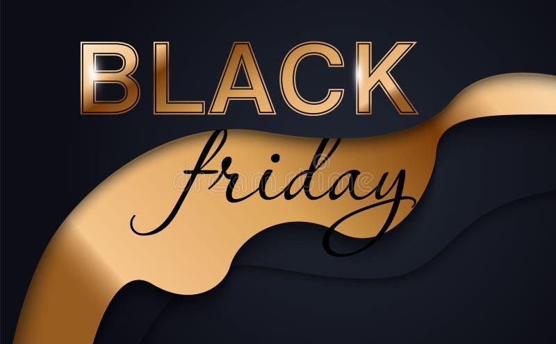 Shopping för Black Friday logoen för begreppet för glansig guld- framtida utrymmestil är den idérika och Maj vinst med dig som mä vektor illustrationer