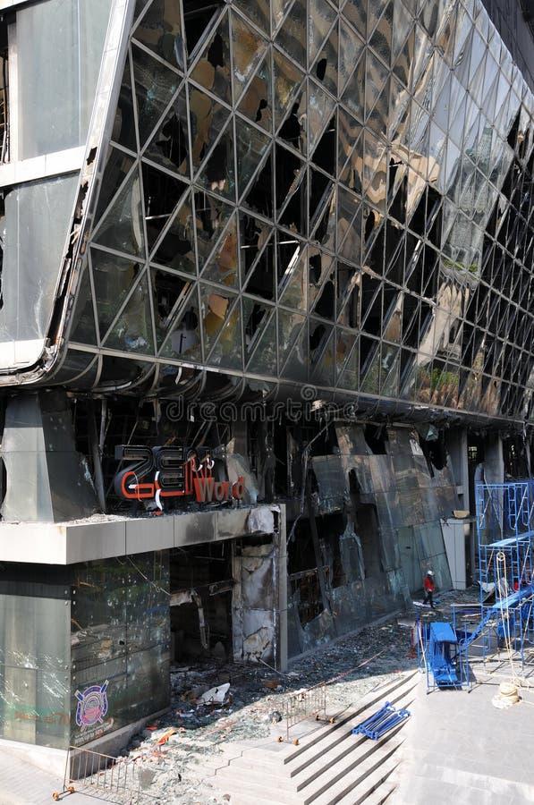 shopping för galleria för bangkok brand förstörd arkivbild