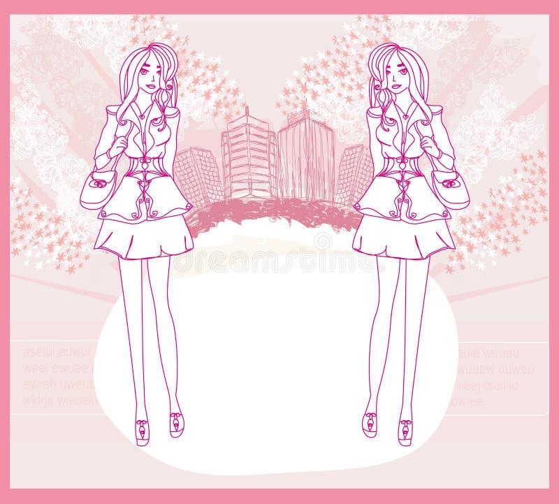 Shopping för klottermodeflicka stock illustrationer