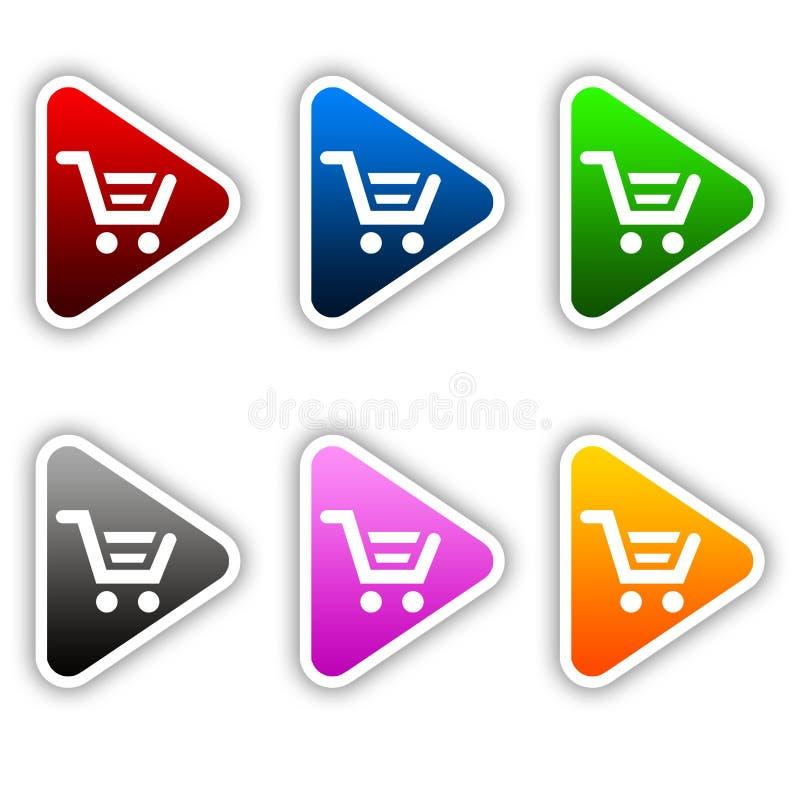 shopping för knappvagnssymbol vektor illustrationer