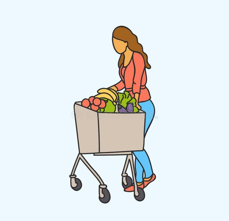 Shopping för kvinna för vektorillustration lycklig med mat för köpande för shoppingvagn på livsmedelsbutikstoreorsupermarket Vekt stock illustrationer