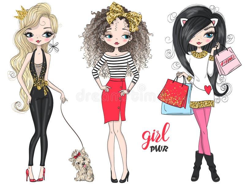 Shopping för makt för tre utdragen härlig gullig modeflickor för hand med den lilla hunden stock illustrationer