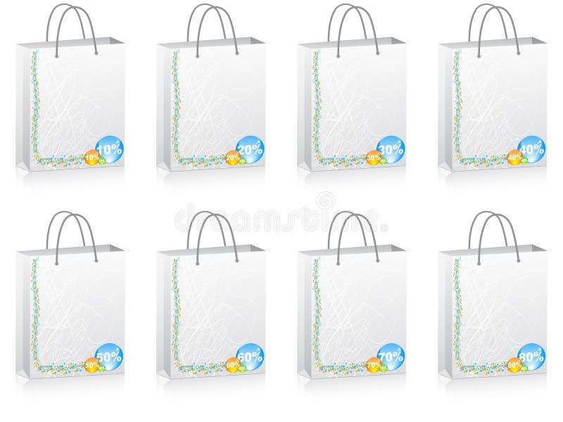 shopping för påserabattprocent royaltyfri illustrationer