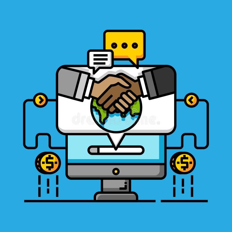 Shopping för partnerskap för pengaröverföring global Internetbetalningtranaction Avtalsonline-affärsköp stock illustrationer