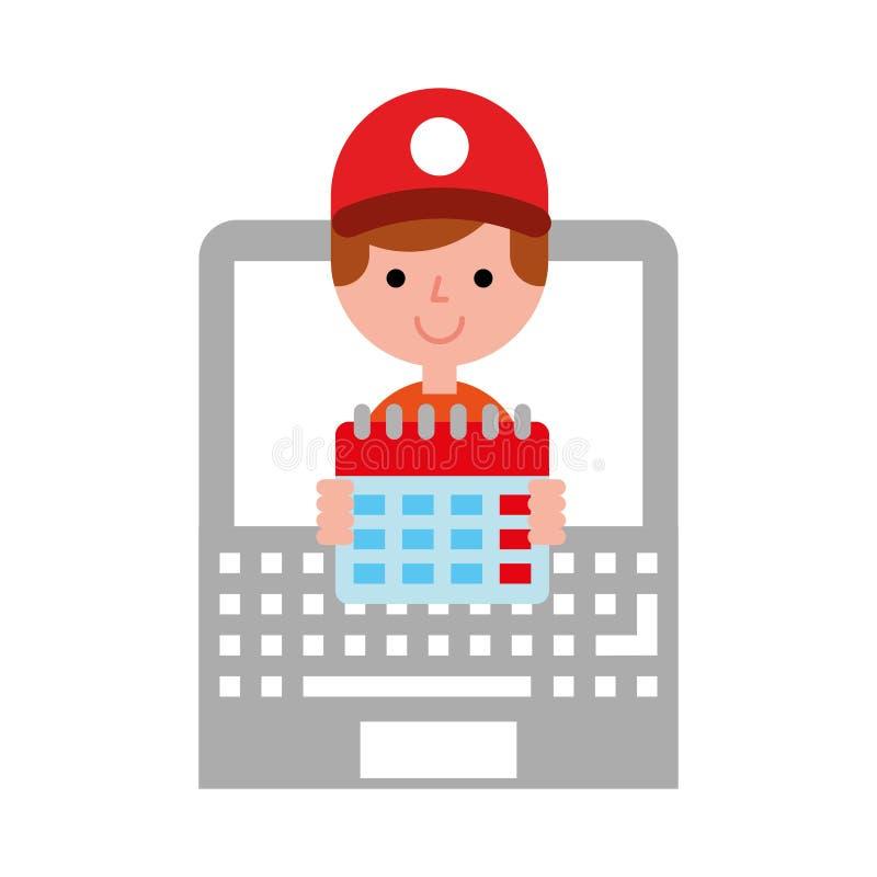 Shopping för plan för operatörsbärbar datorkalender online- royaltyfri illustrationer