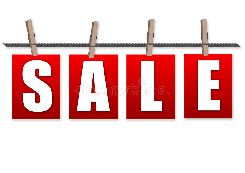 Shopping för Sale röd etikettsrensning med gemet på rep royaltyfri illustrationer