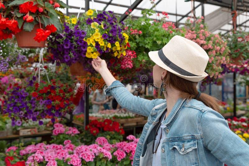 Shopping för ung kvinna i en utomhus ny stads- blommamarknad som köper och väljer från en stor variation av färgrikt blom- fotografering för bildbyråer