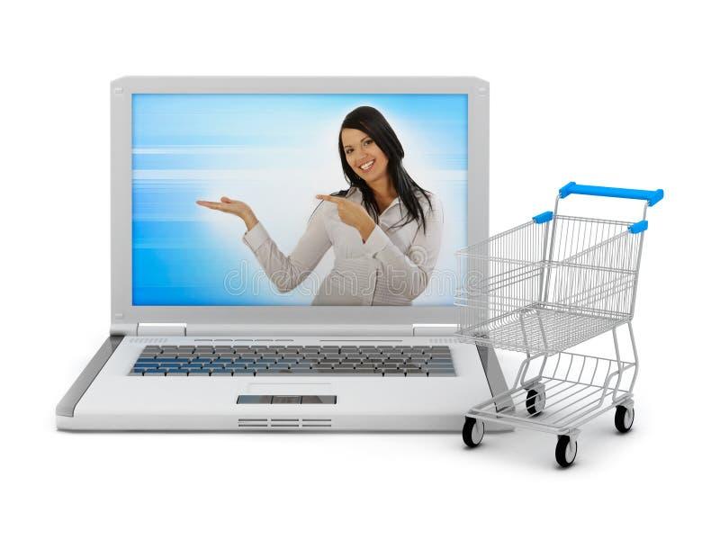 shopping för vagnsinternetbärbar dator royaltyfria foton