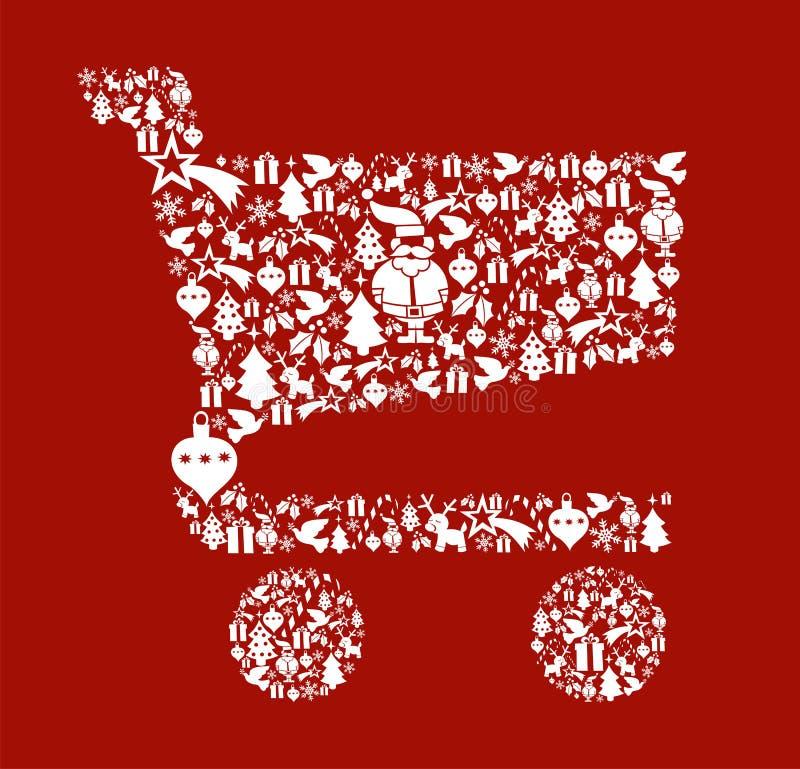 shopping för form för vagnsjulsymbol set royaltyfri illustrationer