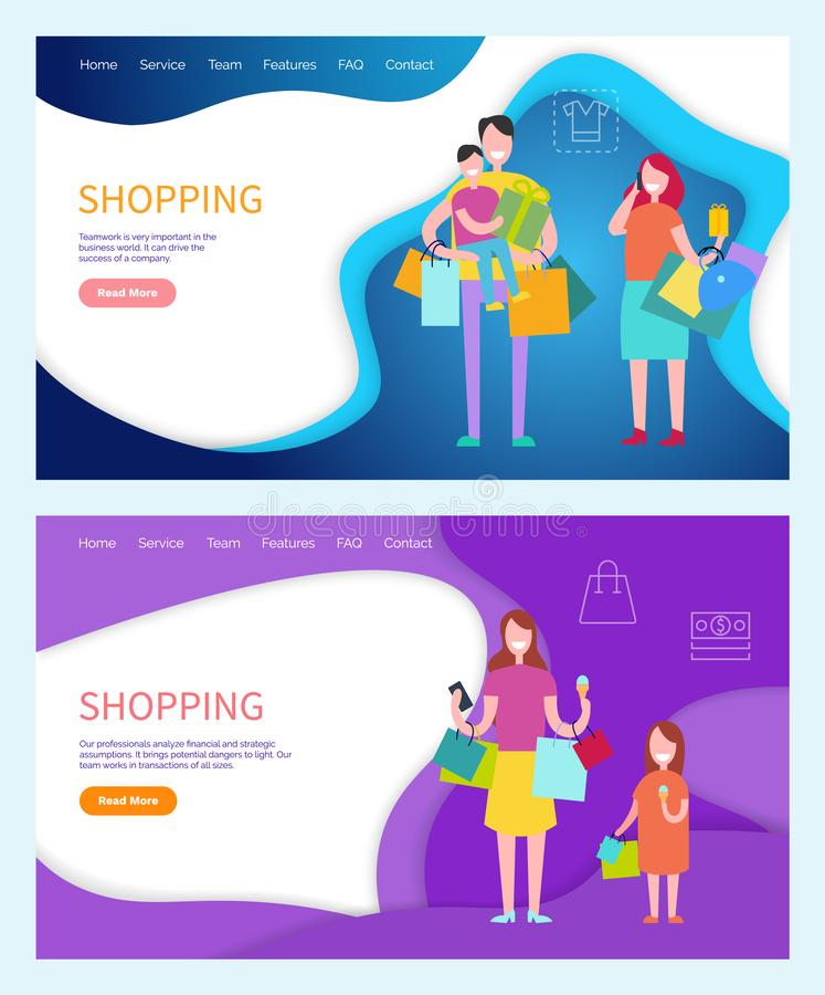 Shopping Family Carrying Bags, Returning Home. Vector. Father and mother, kid sitting on daddys neck, daughter walking with lady, shoppers customers stock illustration