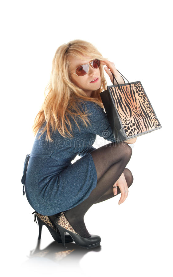Shopping fashion girl stock photo