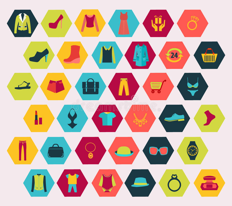 Shopping and Fashion related icons set made in hexagon shape. royalty free illustration