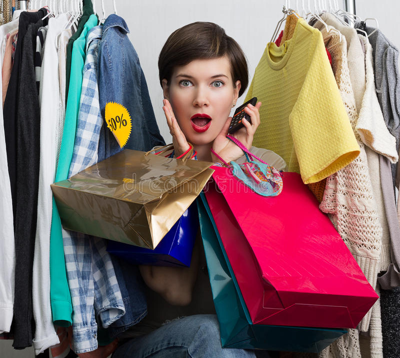 Shopping feaver stock photo