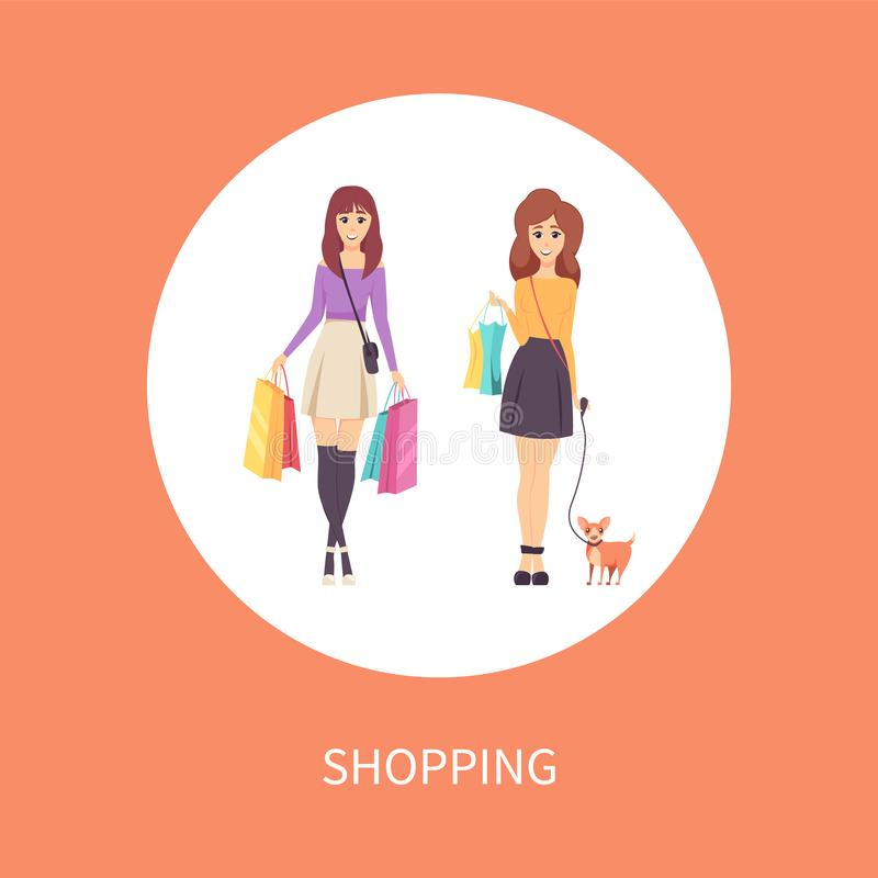 Shopping Female with Bag and Dog Pet Poster Vector royalty free illustration
