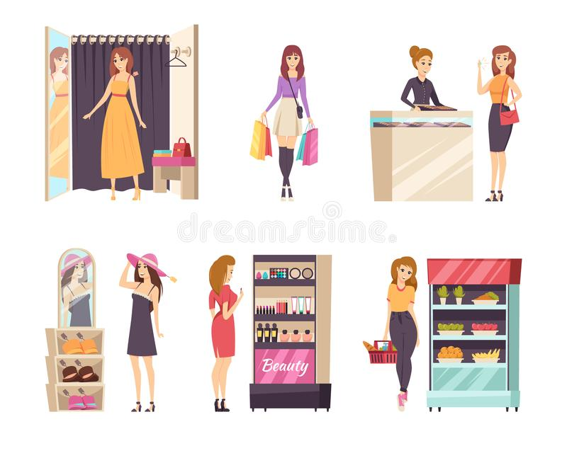 Shopping Female in Changing Room Ladies Set Vector royalty free illustration