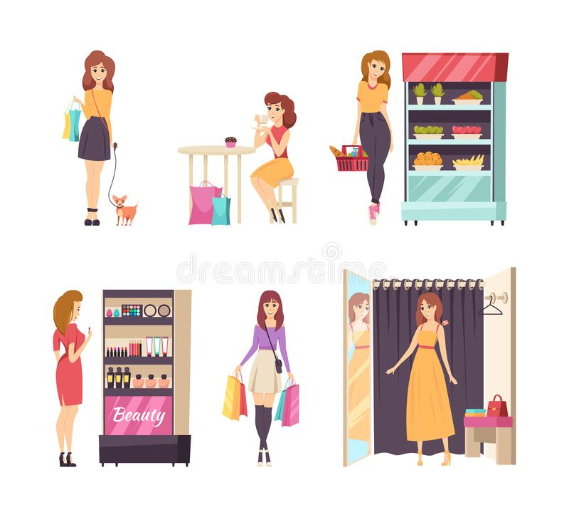 Shopping Female Looking at Cosmetics Stand Vector royalty free illustration