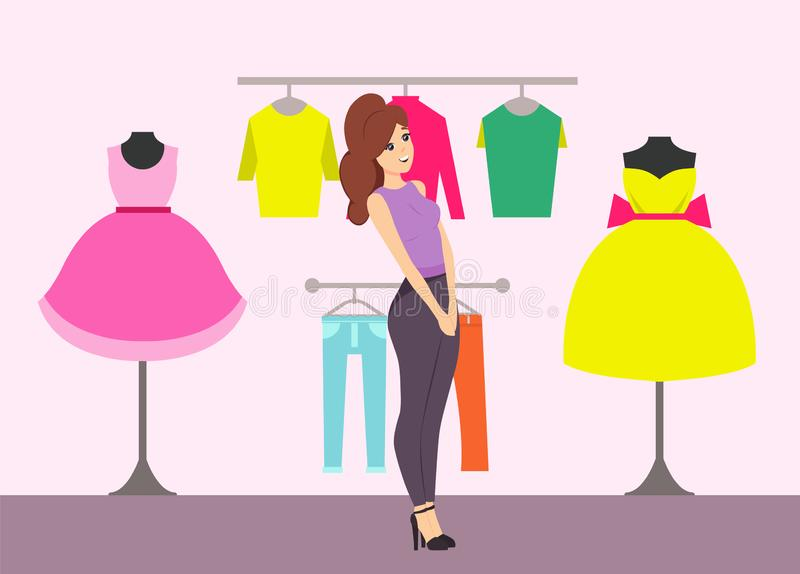 Shopping Female Looking at Dresses in Store Vector vector illustration