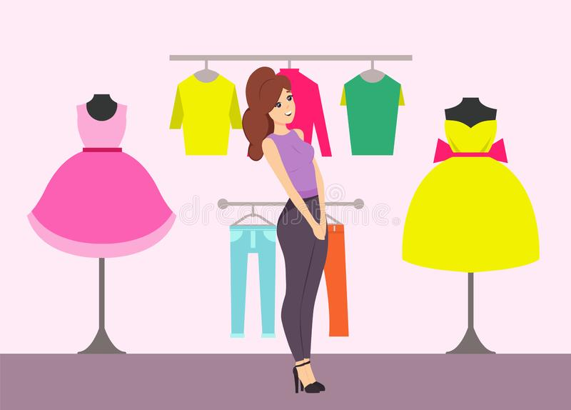 Shopping Female Looking at Dresses in Store Vector stock illustration