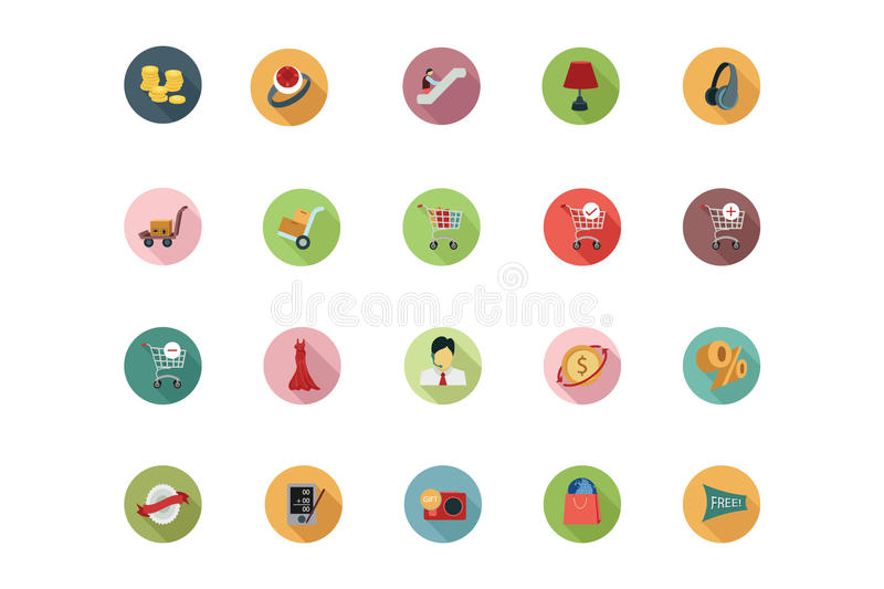 Shopping Flat Colored Icons 5 vector illustration