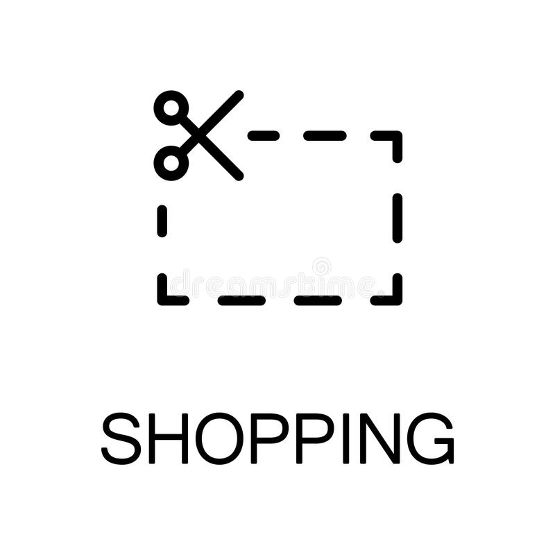 Shopping flat icon. Contact icon. Single high quality outline symbol for web design or mobile app. Thin line sign for design logo. Black outline pictogram on royalty free illustration