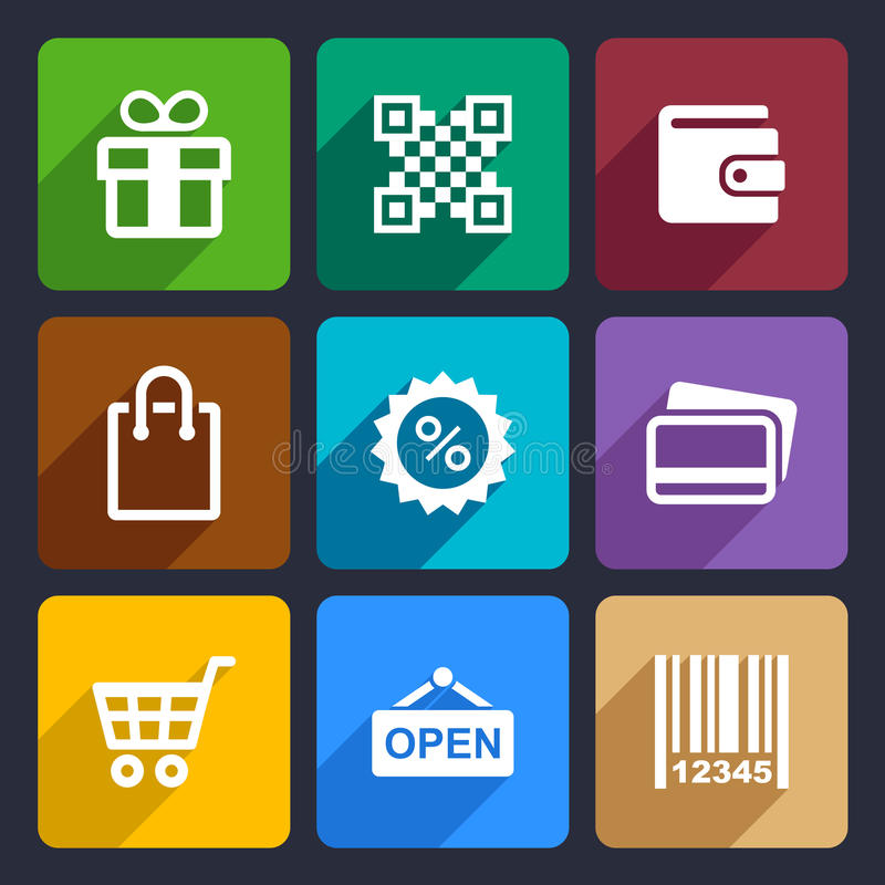 Shopping Flat Icons Set 35 royalty free illustration