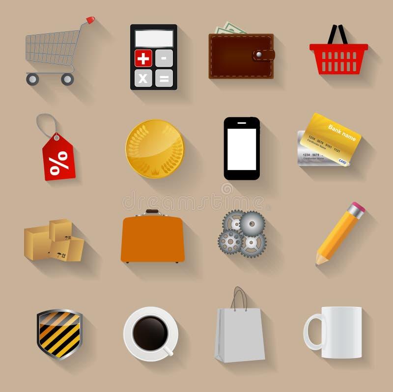 Shopping Flat Icons Set Vector Illustration royalty free illustration