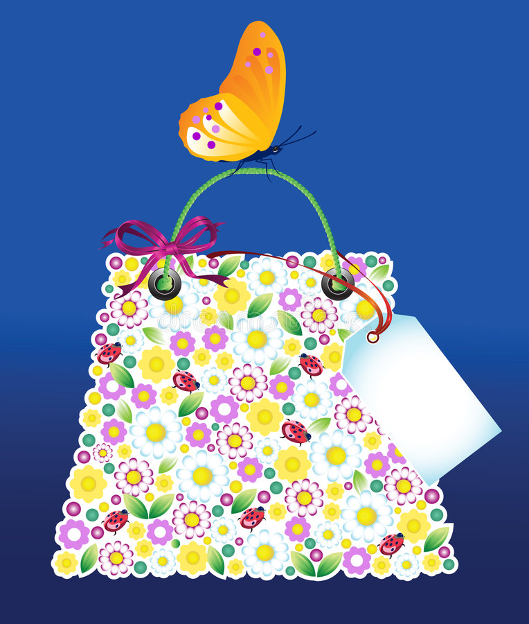 Download Shopping Flowers Bag stock vector. Image of present, insect - 4971540
