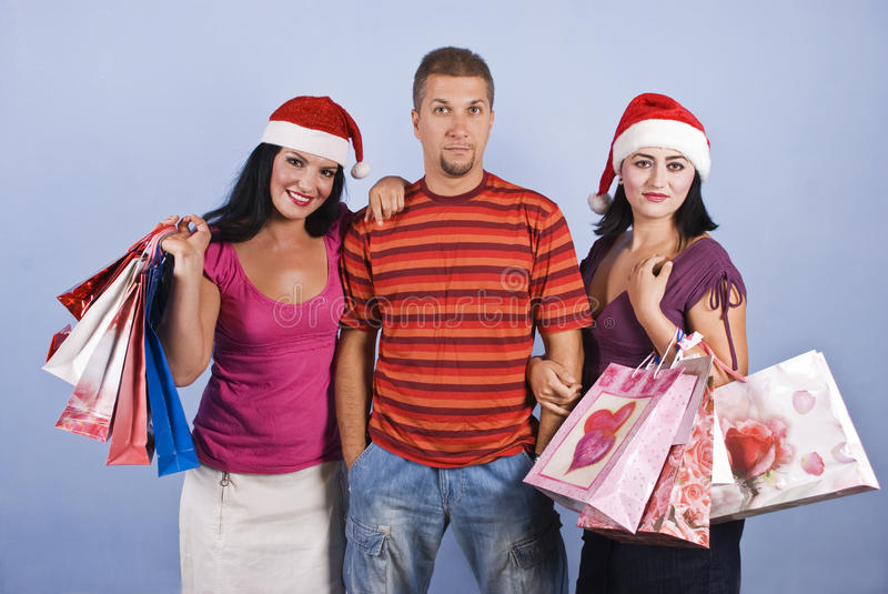 Download Shopping Friends With Christmas Bags Stock Photo - Image: 10757450