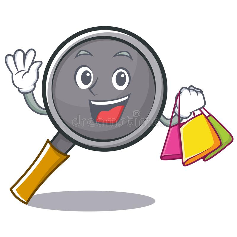 Shopping frying pan cartoon character. Vector illustration stock illustration