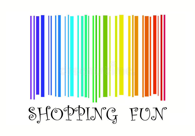 Shopping Fun with barcode in rainbow colors vector illustration