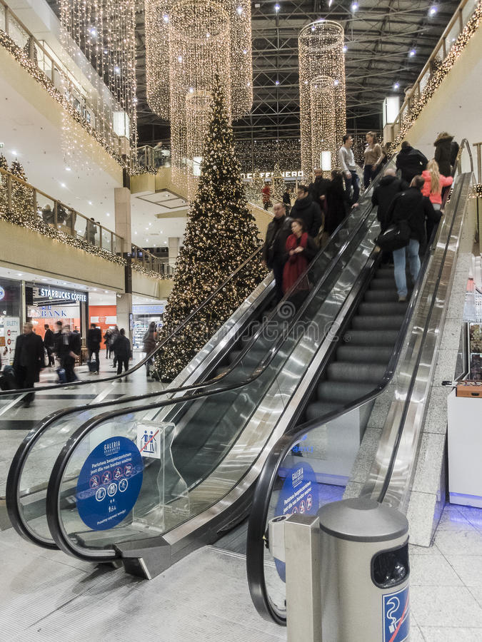 Shopping gallery at Christmas time. royalty free stock photo