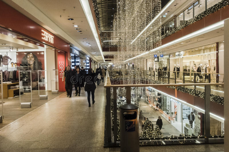 Shopping gallery at Christmas time. royalty free stock photography