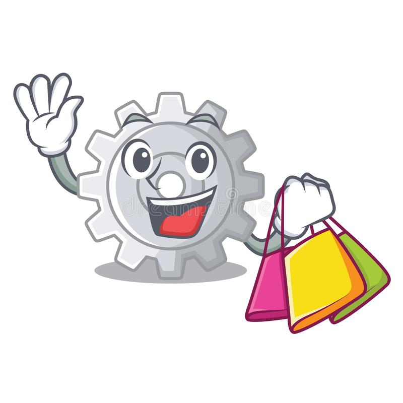 Shopping gear on style character shape funny. Vector illuatration royalty free illustration