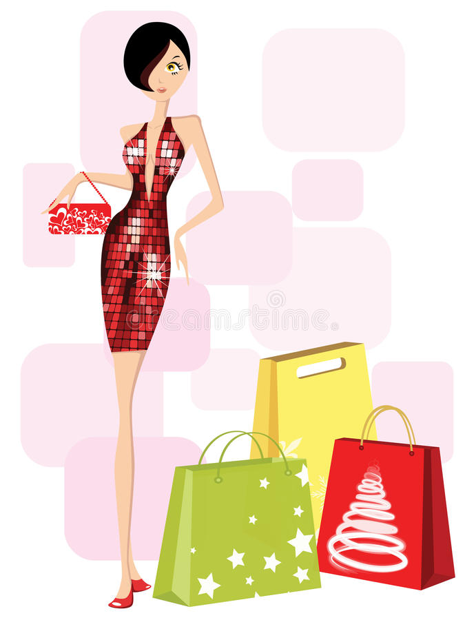 Shopping girl. Christmas shopping girl, illustration vector illustration
