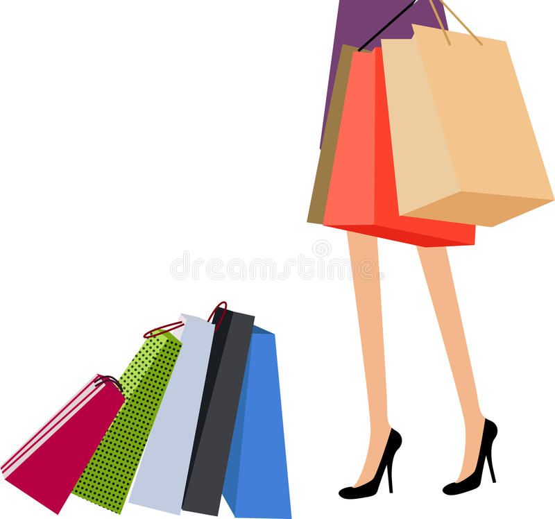Shopping girl stock illustration