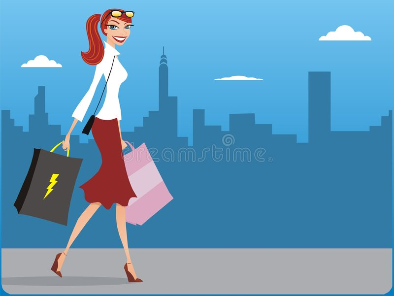 Shopping Girl. / Shopping Woman / Walking stock illustration