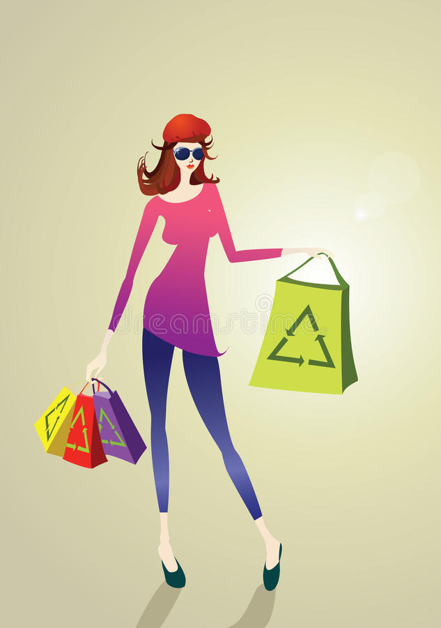 Download Shopping girl stock vector. Image of female, girls, lifestyle - 17245287
