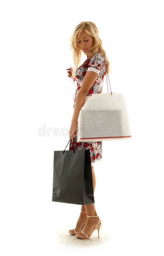 Shopping girl #2. Lovely beauty with shopping bags royalty free stock images
