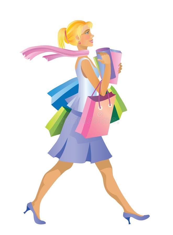 Download Shopping girl stock vector. Illustration of shopper, dress - 6262693