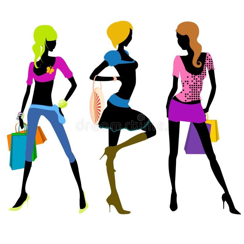 Shopping girl illustration vector stock photos