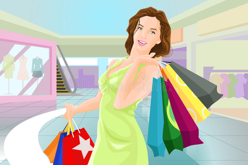 Shopping girl in a mall royalty free illustration