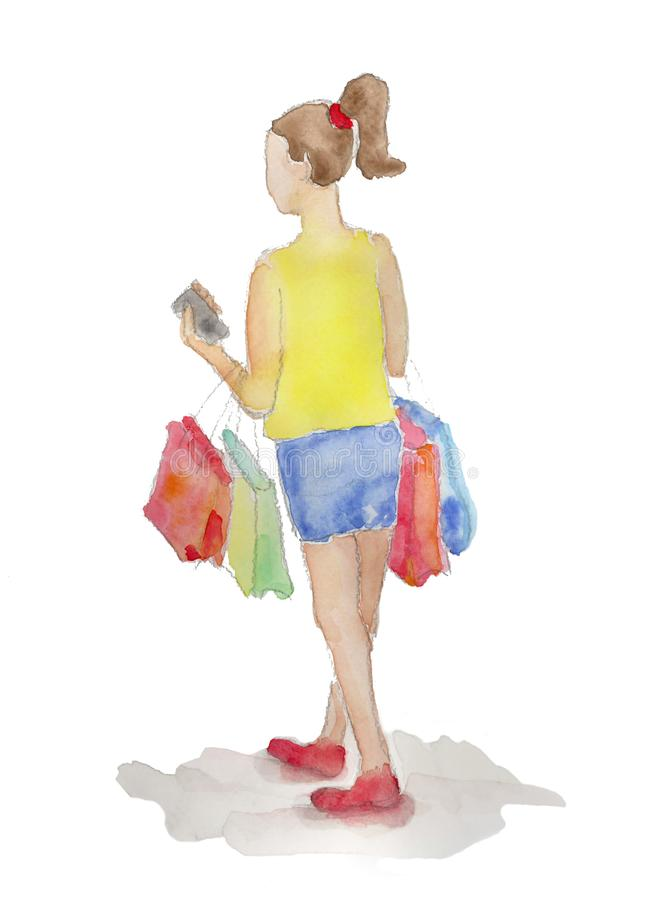 Shopping Girl painted in watercolor isolated royalty free stock image