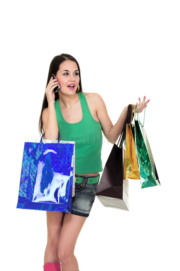 Download Shopping girl with phone stock image. Image of beauty - 2317909