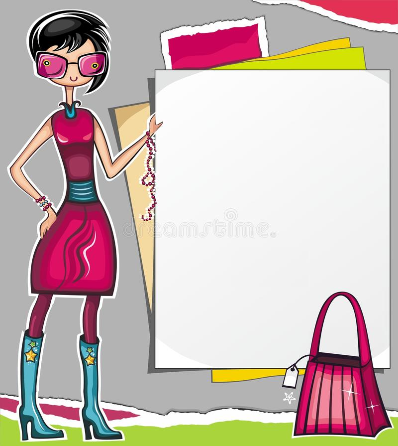 Download Shopping Girl Showing Paper Stock Vector - Image: 15357785
