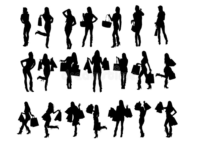Shopping Girl Silhouette Royalty Free Stock Photo