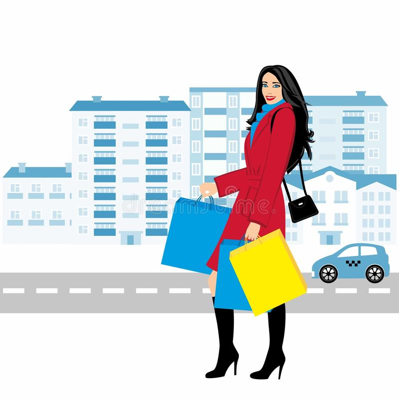 Shopping girl - Stock Illustration. fashionable girl against the backdrop of the city with purchases for your design vector illustration