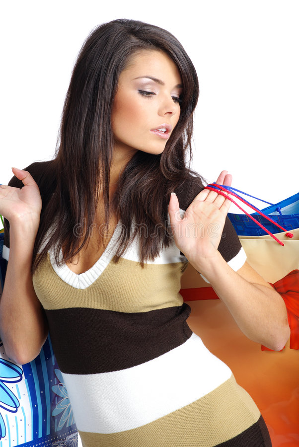 Free Shopping Girl With Bag Royalty Free Stock Photography - 6308757