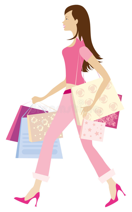 Download Shopping girl1 stock vector. Illustration of busy, hury - 862382