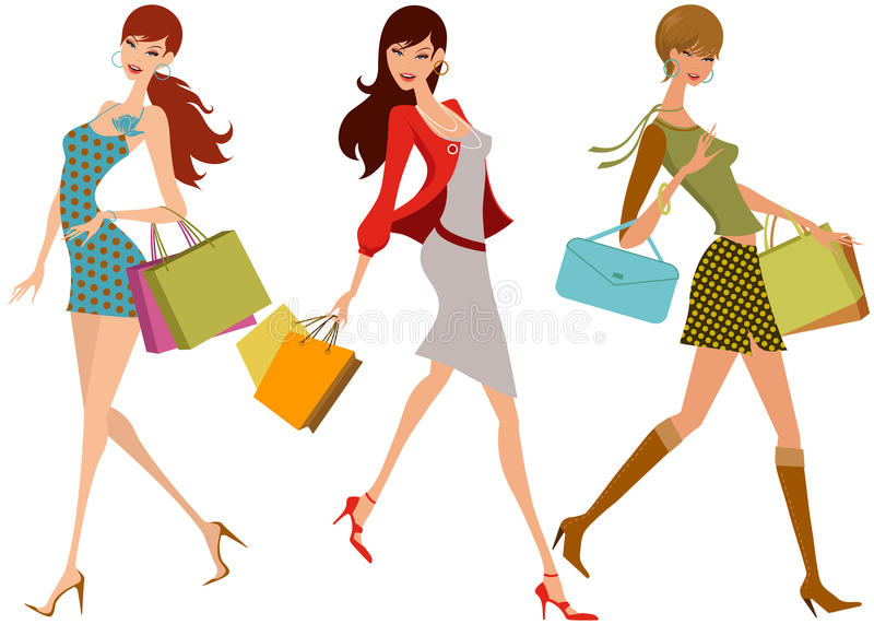Download Shopping girls stock vector. Image of drawing, image - 16878201
